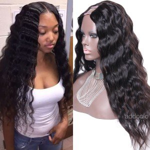"Best U Part Wigs Brazilian Human Hair Water Wave 1.5""X4"" Middle Part Upart Wig"