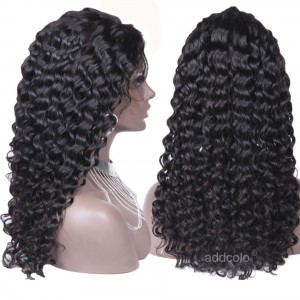 【Wigs】Human Hair Lace Wig Brazilian Hair Deep Curly Wig Natural Color