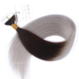 【Addcolo 10A】Tape In Hair Extensions Peruvian Hair #4/Gray Ombre color