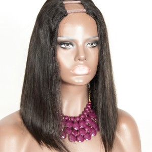 "Straight Bob Wigs 1.5""x4"" Middle Part Natural Color Brazilian U Part Human Hair Wigs"