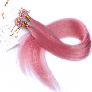 【Addcolo 10A】Micro Loop Hair Extensions Brazilian Hair #Pink Color