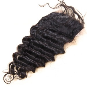 "【Closures】10A Deep Wave Hair Closure Brazilian Human Hair 4""X4"" Lace Closure"