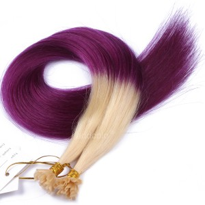 【Addcolo 10A】U Tip Hair Extensions Brazilian Hair #613/purple Ombre Color