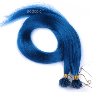 【Addcolo 10A】U Tip Hair Extensions Peruvian Hair #Blue Color