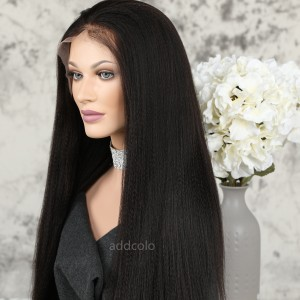 Human Hair Full Lace Wigs Natural Color Brazilian Hair Yaki Straight Wig