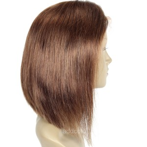 【Wigs】Human Hair Lace Wig Brazilian Hair Straight Bob Wig Color #4