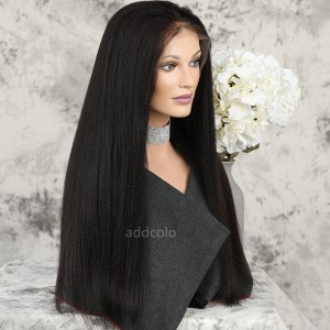 Silk Top Lace Front Wigs Italian Yaki Straight Human Hair Wigs For Black Women