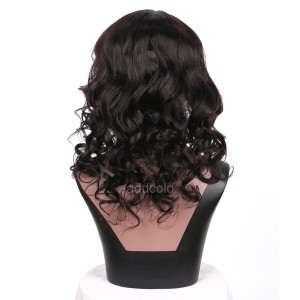 【Clearance】13*3 Lace Front Wig with Thick Bangs Color #1b Loose Wave Human Hair Wig
