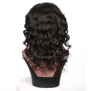 【Clearance】Natural Black Full Lace Wig Loose Wave Free Part with Baby Hair Human Hair Wigs