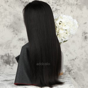 Yaki Straight Human Hair Half Wigs Brazilian Hair Natural Color Machine Made Wigs