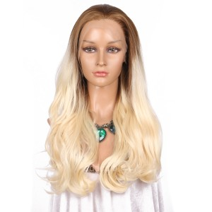 【Wigs】Synthetic Wigs Wavy #27/#613 Ombre Color Lace Front Wig