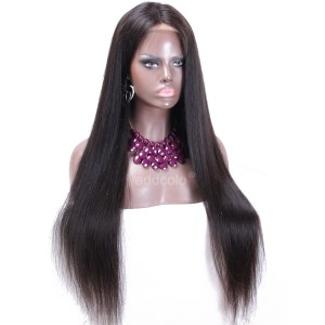 Human Hair 360 Lace Frontal Wigs Natural Color Brazilian Hair Silky Straight Wig