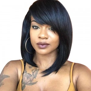 【Wigs】Lace Front Wigs Brazilian Hair Bob Wig with Side Bangs Natural Color