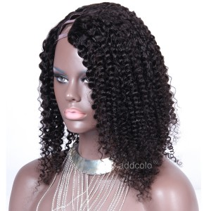 Brazilian Right Part U Part Wig Human Hair Natural Color Kinky Curly Upart Wig