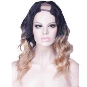 Human Hair U Part Wigs Losse Wave #1B/#27 Strawberry Blonde Ombre Wig