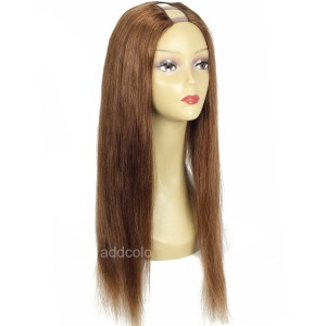 Silky Straight U Part Wig With Clips Chestnut Brown Color #6 Normal Density U Part Wigs