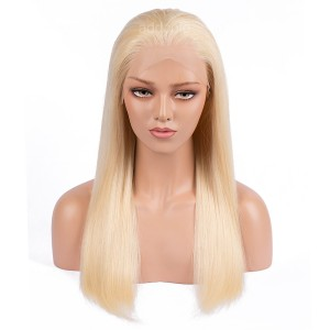 Brazilian Hair Full Lace Wigs Straight Blonde Color #613 Human Hair Wigs