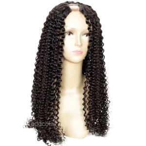 100% Human Hair Brazilian Hair Kinky Curly Wig Natural Color U Part Wigs For Sale