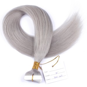 【Addcolo 10A】Tape In Hair Extensions Brazilian Hair #Gray Color