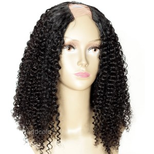 Middle Part U Part Wig Brazilian Hair Jet Black #1 Afro Kinky Curly Wig For Black Women
