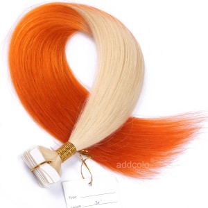 【Addcolo 10A】Tape In Hair Extensions Brazilian Hair #613/Orange Ombre Color
