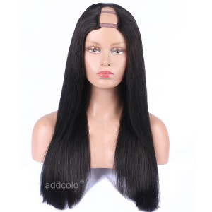 Silk Straight  U Part Wig Natural Color Middle Part Brazilian Human Hair Upart Wigs