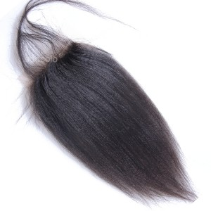 "【Closures】10A Hair Closure Peruvain Hair Yaki Straight 4""x4"" Lace Closure"