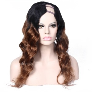 Midium Auburn #1B/#30 Human Hair Ombre Wig Natural Wave Left part U Part Wig