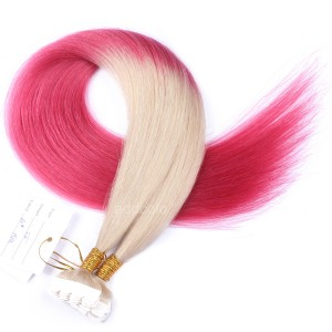 【Addcolo 10A】Tape In Hair Extensions Brazilian Hair #60/Pink Ombre Color
