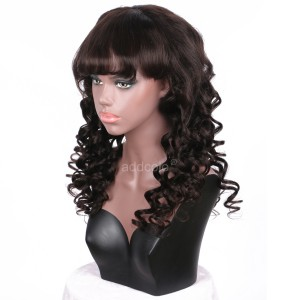 【Clearance】Full Lace Wig with Bangs Color #2 Human Remy Hair Wig In Stock