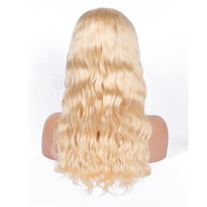 Natural Hairline Full Lace Wig Blonde Color #613 Natural Wavy Human Hair Wigs