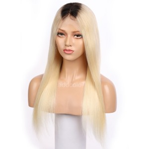 Blonde Human Hair Wigs Dark Root Ombre Color Silky Straight Lace Wigs