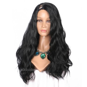 【Wigs】Synthetic Wigs Water Wave Black Color U Part Wig