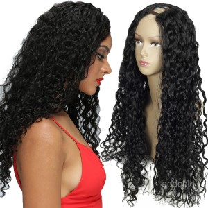 Jet Black Color #1 U Part Wig 180% High Density Loose Curly Wigs For Black Women