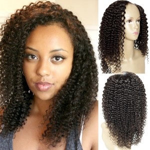 "Kinky Curly 1""x4"" Left Part U Wig Natural Color U Part Human Hair Wig For Black Women"