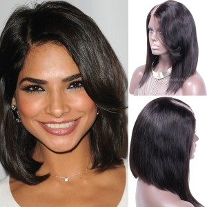 Cheap U Part Wigs Brazilian Hair Straight Short Bob with Side Bangs Upart  Wigs