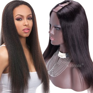 150% Heavy Density Middle Part U Part Wig Human Hair Natural Color Yaki Wigs