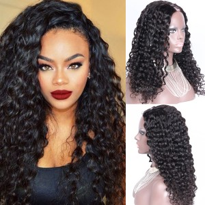 U Part Human Hair Wig 150% Heavy Density Natural Color Kinky Curly Wig For Women