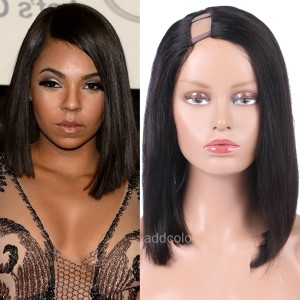 "1""x4"" Right Part Silky Straight 130% Density U Part Wig Human Hair Short Bob Wigs"