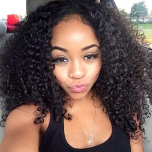 【Wigs】Full Lace Wigs Indian Hair Kinky Curly Wig Natural Color