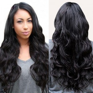 【Wigs】Human Hair Lace Wig Brazilian Hair Super Wave Wig Natural Color