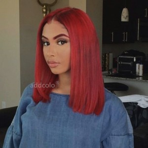 Carmine Red Lace Front Wigs Bob Straight & Wavy 2019 Summer Colorful Trendy Wigs