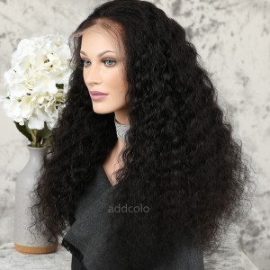 Human Hiar 360 Lace Frontal Wigs Natural Color Brazilian Hair Deep Wave Wig