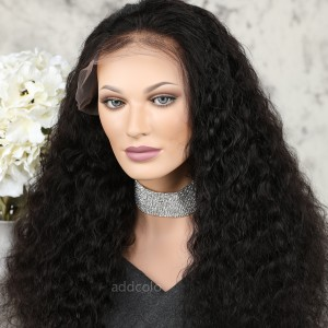 Human Hair Full Lace Wigs Natural Color Brazilian Hair Deep Wave Wig