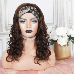 Human Hair Head Band Wigs Loose Wave Machine Made Wigs