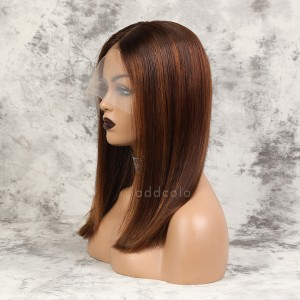 Elyse Remy Hair Lace Front Wigs #Dark Orange/30 Highlights