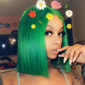 Emerald Green Lace Wigs Bob Straight & Wavy 2019 Summer Trendy Colorful Lace Front Wigs