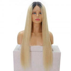 Human Hair Full Lace Wigs Brazilian Hair Straight Wig #1B/#613 Ombre Color