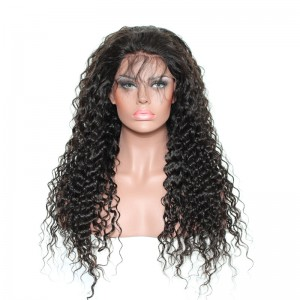 【Wigs】Full Lace Wigs Brazilian Hair Deep Curly Wig Natural Color