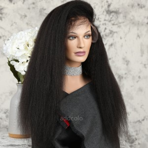 African American Lace Front Wigs Kinky Straight Human Hair Silk Base Wigs For Black Women